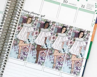 Springtime Boho Fashion Girls (4 Planner Stickers)