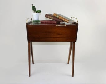 Sewing Box Cabinet Vintage 50s Wood Handwork Made in Germany