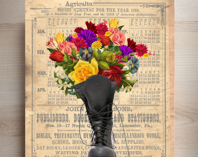 Military Boot bouquet of flowers choice of replica antique background art print, vintage collage beautiful wall decor BOOT45