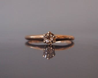 1880s 0.20ct Old Mine Cut Champagne Diamond 10ct Rose Gold 'Empire State Building' Antique Victorian Engagement Ring