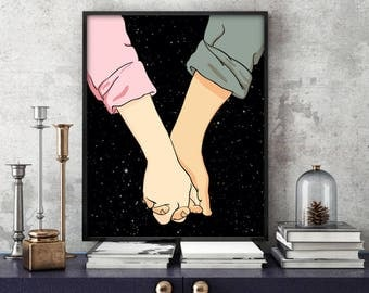 stars print, printable illustration, wall art print, wall art decor, love print, space print, outer space print,5 SIZES INCLUDED