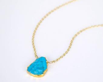 Turquoise necklace, Gemstone necklace, layered necklace, Gemstone Slice Pendant Necklace, Electropformed Slice, Gold Necklace, Boho Jewelry