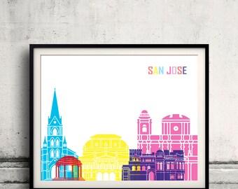 San Jose skyline pop - Fine Art Print Glicee Poster Gift Illustration Pop Art Colorful Landmarks - SKU 2389