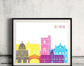 Oxford V2 pop art skyline Fine Art Print Glicee Poster Gift Illustration Pop Art Colorful Landmarks - SKU 2571