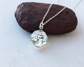 Solitaire Crystal Necklace, Clear Crystal Pendant Sterling Silver Necklace, Minimalist Everyday Necklace, Gift For Her