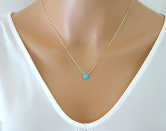Turquoise Necklace, December Birthstone pendant, Turquoise Jewelry in Gold, Silver, Rose gold