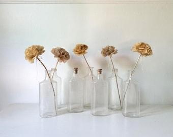 Antique Pharmacy Bottles . Seven Vintage Glass Bottles . Apothecary .  Farmhouse Style . Shabby Cottage . Wedding Decor . Home Decor .