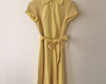 VTG Mid 1960's Mellow Yellow Mini Dress Go Go MOD