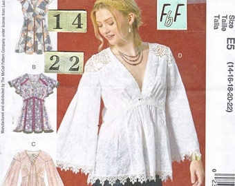 V Neck, Empire Waist, Gathered Bust Top Sewing Pattern/ McCall's 7509 Women's Long flared or Flutter Sleeve top/ Size 14 16 18 20 22