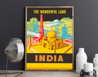 India Travel Poster Indian Art Indian Poster Indian Wall Art Indian Restaurant Decor Travel Poster Travel Wall Art Travel Print India Print