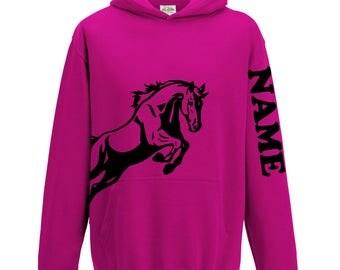 Personalised Equestrian Hoodie, Girls Horse riding hoodie, personalised with NAME, girls equestrian hoodie women kids childs gift L155