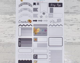 COOL GREY NEUTRAL Weekly Sampler Set - Stickers for Planners!