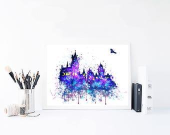 harry potter castle, watercolor, hogwarts watercolor, hogwarts castle, hogwarts print, hogwarts poster, watercolor harry potter, hogwarts