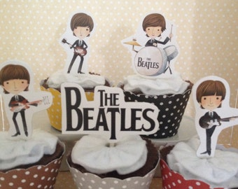 The Beatles, Ringo Starr, John Lennon, Paul McCartney, George Harrison Party Cupcake Topper Decorations - Set of 10