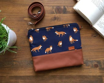 Crossbody Bags Animals gift  Wildlife Fox Print Bag Animal bag Vegan Small Fox Purse Cross body bag Handbags Blue Small bag Womens Gift