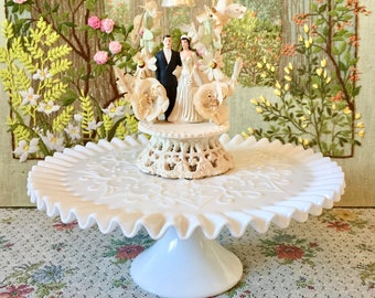 Cake Stand Cake Plate Milk Glass Cake Stands for Wedding Cake White Cake Stand Pedestal Cake Stand Cupcake Stand Vintage Cake Dessert Table