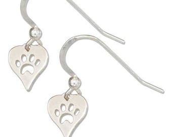 Sterling Silver Cutout Dog or Cat Paw Print Heart Earrings   Dog Lover Jewelry, Cat Lover Gift, New Pet Present, Animal Lover Gift