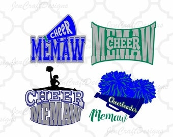 Cheer Memaw, Cheerleader,Memaw Cut file for Cricut, Silhouette, SCAL, SVG, EPS, Dxf, Studio3, Png Vector, Digital Instant download