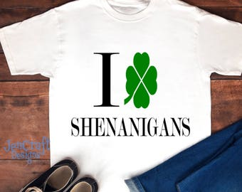 St. Patricks Day SVG I Love Shenanigans SVG cutting file, clover cutting file for silhouette,  cricut, svg dxf png eps Shenanigans SVG