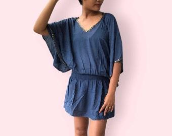 Navy blue stud beach dress, BW11 navy, beach dress,  holiday, maternity wear, lounge wear, poolside party wear, party dress, fun dress