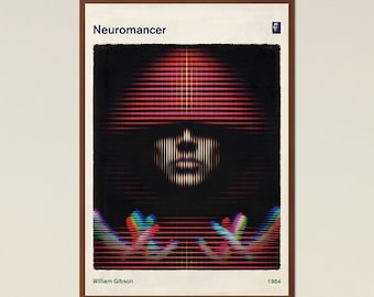 Neuromancer, William Gibson - Book Cover Poster Large, Literary Gift, Minimalist Poster, Sci Fi Art, Cyberpunk, Instant Download