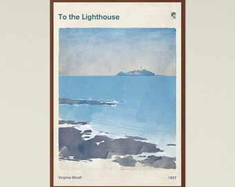 Virginia Woolf To the Lighthouse - Literary Book Cover Print Large, Classic Literature Poster, Bookish Gift, Feminist Art, Instant Download