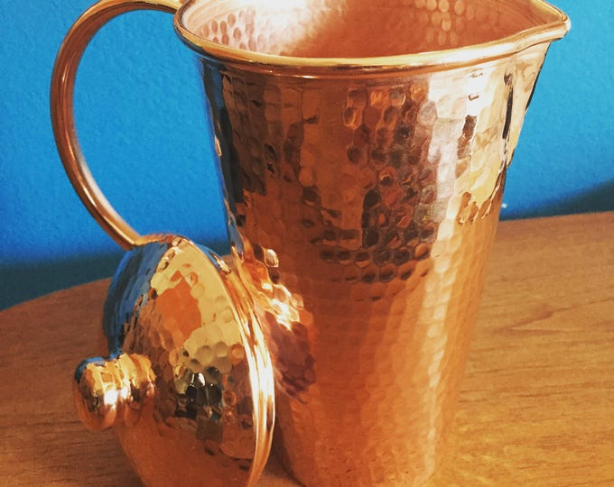 Hammered Copper Pitcher with lid - 1.25L capacity, 100% pure copper