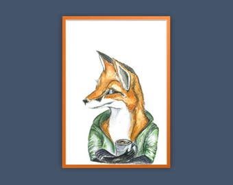 Fox and Coffee Watercolour Fox Print Hipster Fox Print