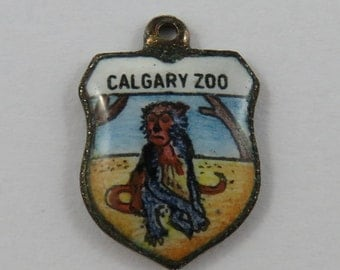 Calgary Zoo Enamel Travel Shield Silver Vintage Charm For Bracelet
