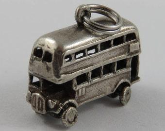 Double Decker Bus Mechanical Sterling Silver Vintage Charm For Bracelet