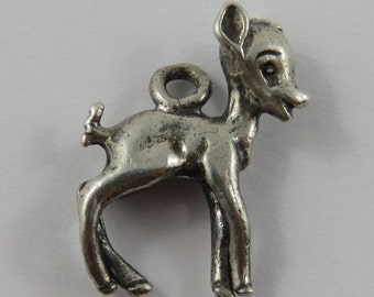 Bambi Baby Deer Fawn Sterling Silver Vintage Charm For Bracelet