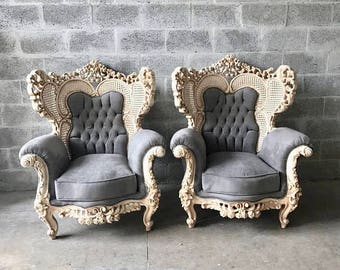 Baroque Throne Chair Antique Furniture Gray Fabric Tufted Chair Furniture Baroque Chair Rococo French Tufted Chair Cream Tufted Chair