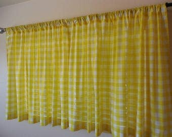 """1"""" Check Kitchen curtains Gingham curtains Cabin curtains custom curtains plaid curtains ckecked curtains rustic curtains gingham drapes"""