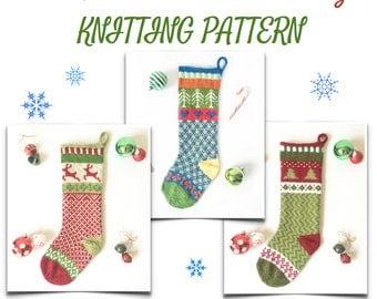 Knit Christmas Stocking Pattern, Fair Isle Stocking Pattern, Knitted Stocking Pattern - CHRISTMAS DESIGNS