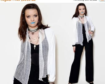 25%OFF 90s sheer cardigan long sleeve mesh sweater white see through loose younique edgy vintage secretary kimono patterned vintage loose ou