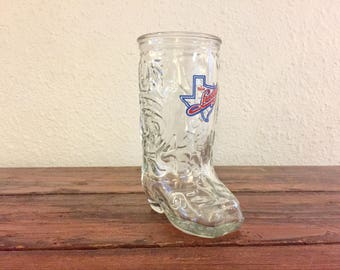 Vintage Texas Loosey's Glass/ 16 oz./ Boot Shaped