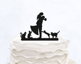 Wedding Cake Topper With four Cats_Bride And Groom Cake Topper_cake topper Silhouette_Personalized Cake Topper_rustic and funny cake topper