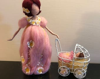 Needle felted doll, Waldorf inspired, Wool doll, Mother and baby, Mom and baby, Pregnant, fairy, Mom with baby carriage, Art doll, Gift