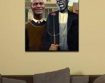 "Mike Tyson Evander Holyfield Dinner Date 16""x24"" Canvas Print"