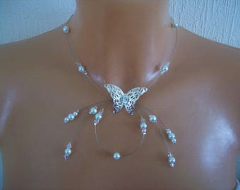 Silver bridal necklace wedding Butterfly pearls /transparentes evening ceremony