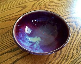 Deep purple cereal bowl, light blue and dark purple bowl