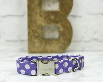 Dog Collar   Lilac Jumbo Polka Dot Dog Collar  Purple Dog Collar   Designer Dog Collar   Pet Accessories   Pet Supplies