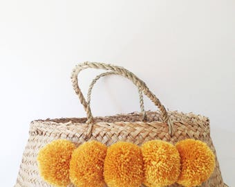 pom pom seagrass belly basket black panier boule nursery toy. Black Bedroom Furniture Sets. Home Design Ideas