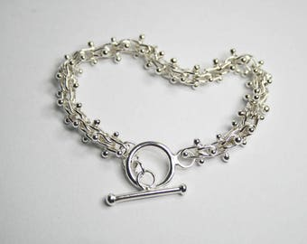 JB5. Bracelet - Elegant Fine Silver .999 with Handmade Fused Links and a Sterling Silver Toggle Clasp