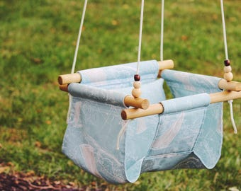 porch swing, baby fabric swing, toddler swing, outdoor swing, indoor swing, nautical theme, nursery decor, baby shower gift, wooden swing,