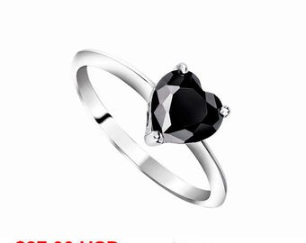 Black Engagement Ring Heart Engagement Ring Black Promise Ring for Her Heart Promise Ring Black Wedding Ring Solitaire Ring CZ Black Ring