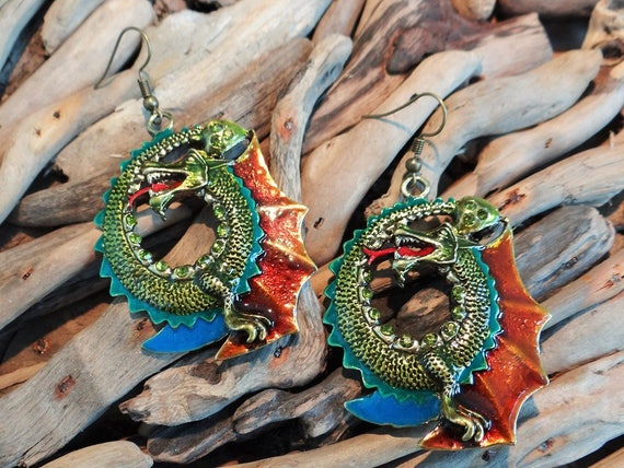Dragon Earrings Goth Gothic Daenerys Targaryen Khaleesi Mother Of Dragons Game Of Thrones Lord of the Rings Wicca Pagan Fantasy Wiccan