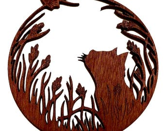 Cat & Butterfly - laser cut mahogany timber hanging decoration
