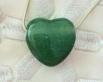 Green Aventurine HEART Necklace infused w/ Reiki - Healing Jewelry / Free Shipping