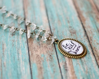 Be Still and Know Quartz Chained Necklace, Hand Lettered Bible Jewelry, Psalm 46 10 Inspirational Gifts for Her, Encouraging Gifts, 6-60